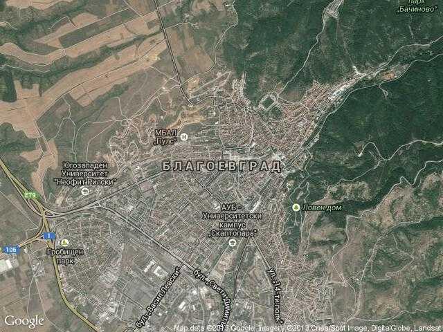 Сателитна карта на Благоевград