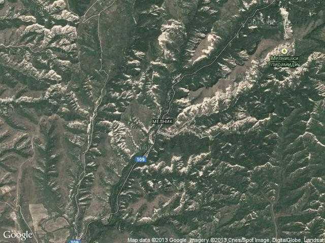 Сателитна карта на Мелник