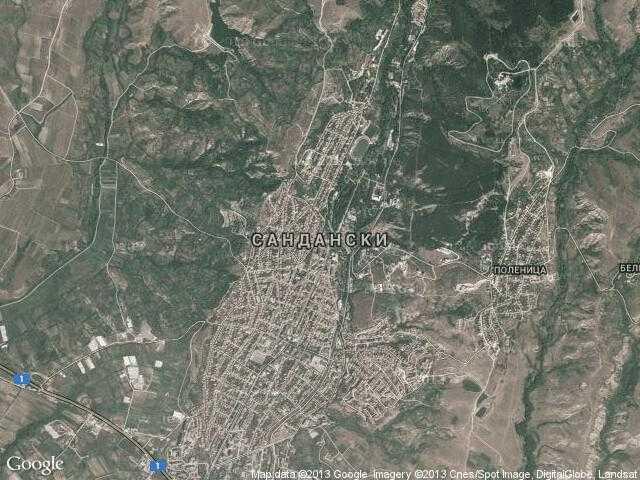 Сателитна карта на Сандански