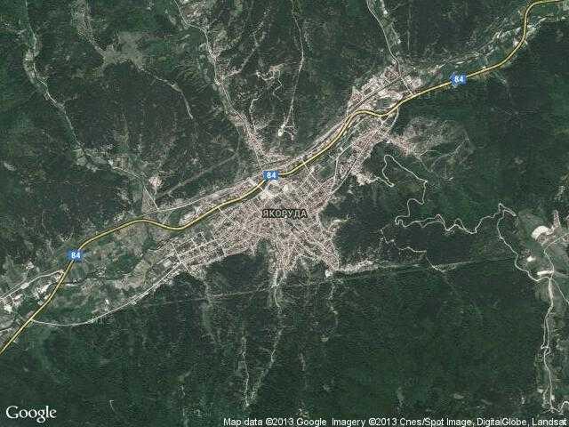 Сателитна карта на Якоруда