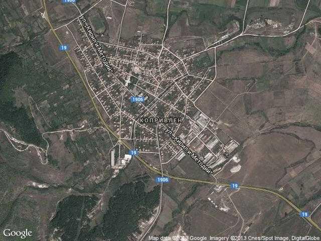 Сателитна карта на Копривлен