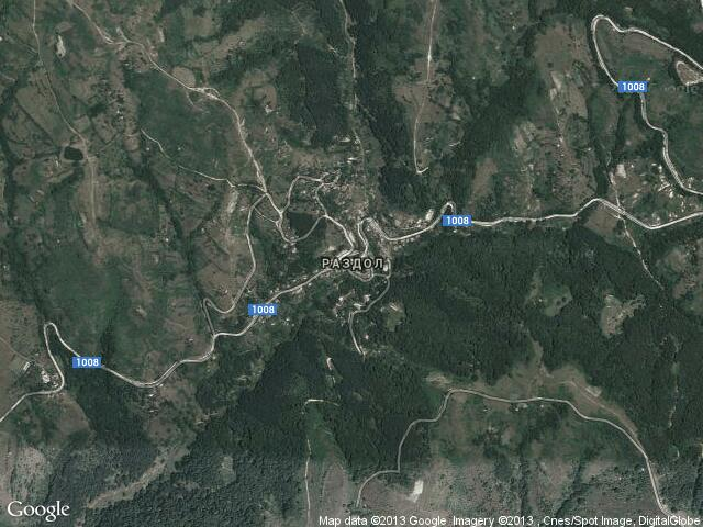 Сателитна карта на Раздол