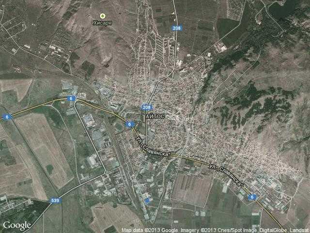Сателитна карта на Айтос