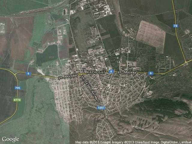 Сателитна карта на Карнобат