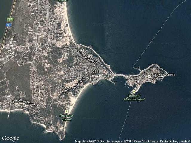 Сателитна карта на Несебър