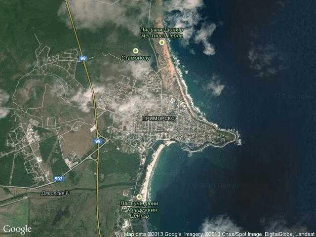 Сателитна карта на Приморско