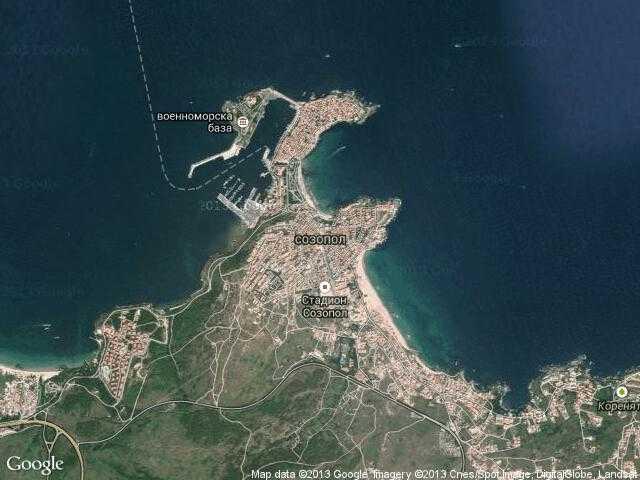 Сателитна карта на Созопол