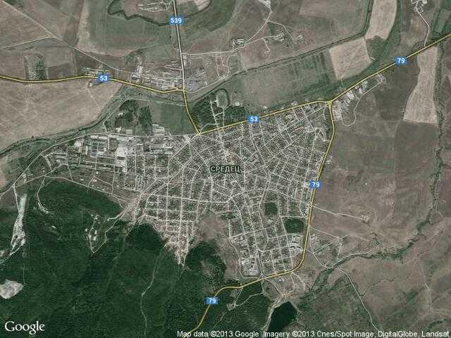 Сателитна карта на Средец