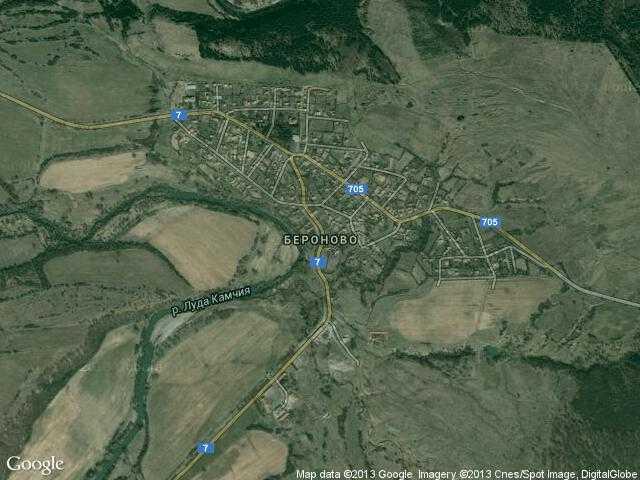 Сателитна карта на Бероново