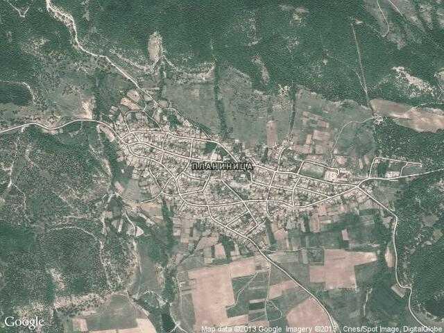 Сателитна карта на Планиница