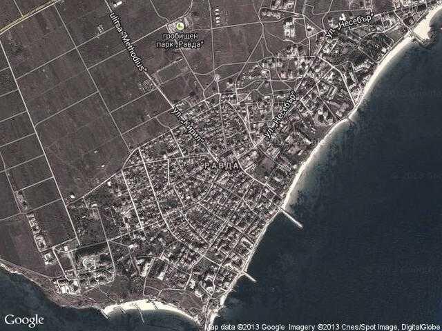 Сателитна карта на Равда