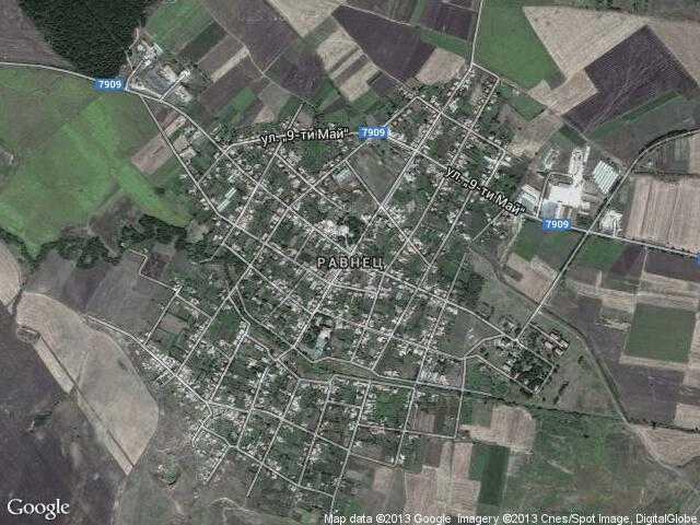 Сателитна карта на Равнец