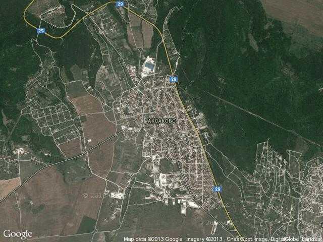 Сателитна карта на Аксаково