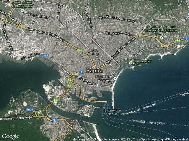 Сателитна карта на Варна