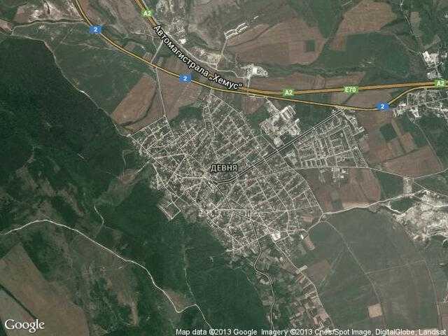 Сателитна карта на Девня