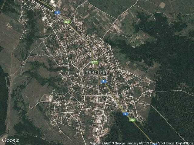 Сателитна карта на Приселци