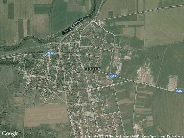 Сателитна карта на Цонево