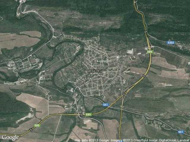 Сателитна карта на Дебелец