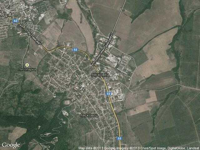 Сателитна карта на Лясковец