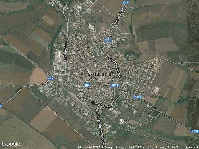 Сателитна карта на Павликени