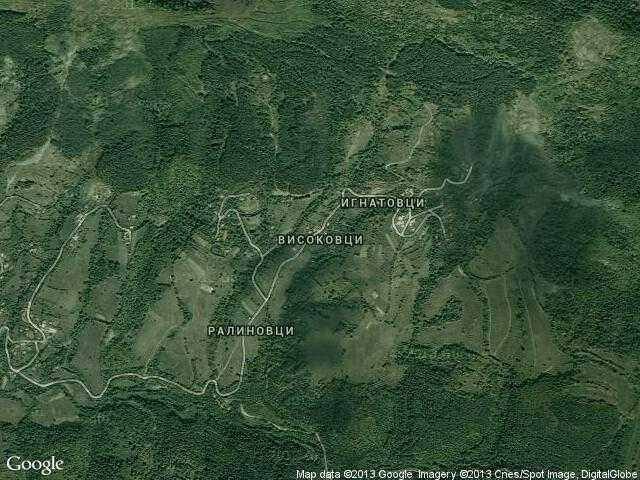 Сателитна карта на Високовци