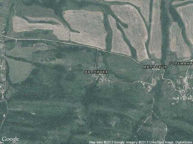 Сателитна карта на Върлинка