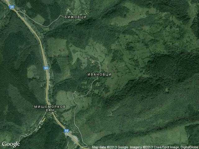 Сателитна карта на Ивановци