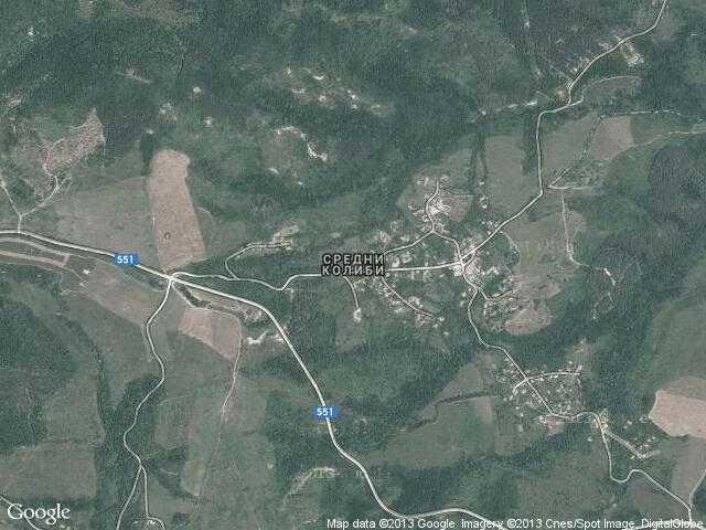 Сателитна карта на Средни колиби