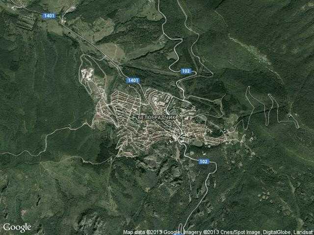 Сателитна карта на Белоградчик
