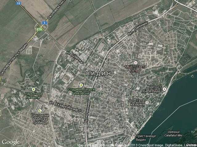 Сателитна карта на Видин