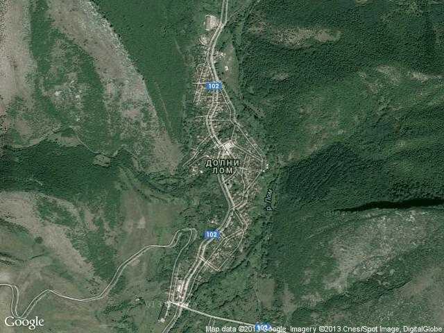 Сателитна карта на Долни Лом