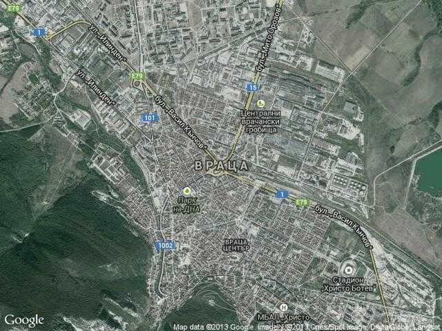 Сателитна карта на Враца