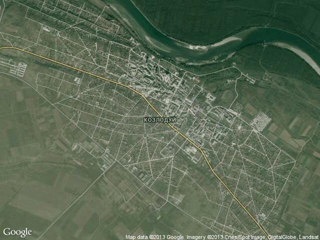 Сателитна карта на Козлодуй