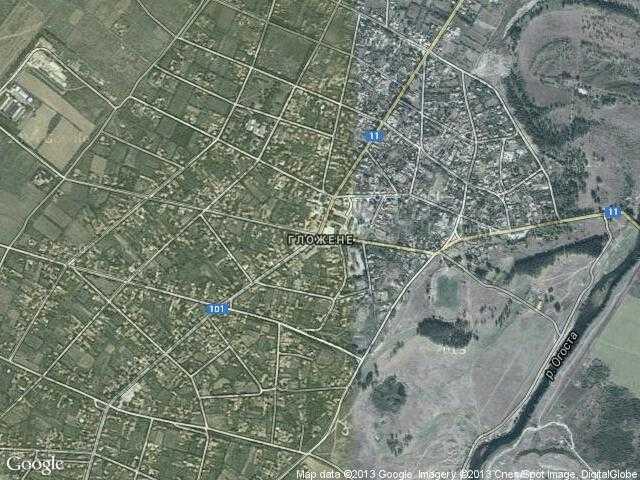 Сателитна карта на Гложене