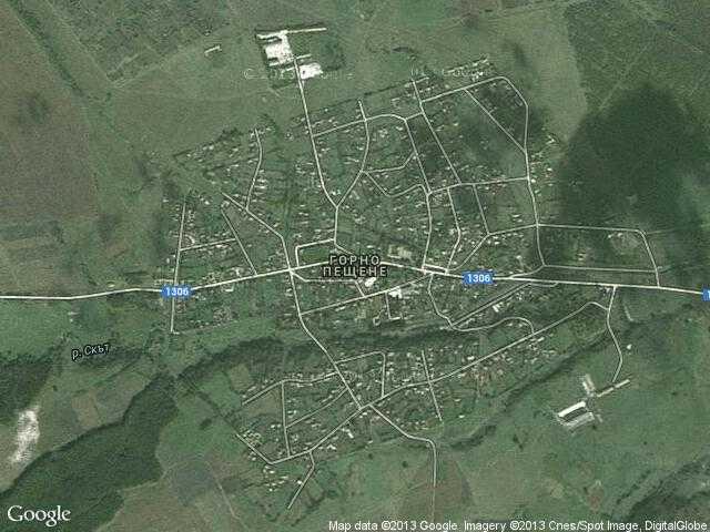 Сателитна карта на Горно Пещене