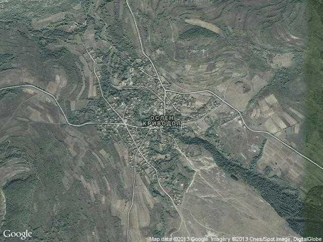 Сателитна карта на Ослен Криводол