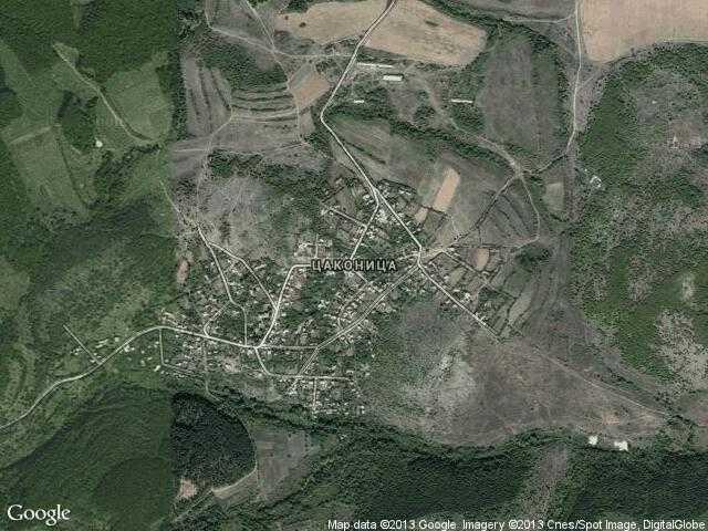 Сателитна карта на Цаконица.Надморска височина,координати,времето ...
