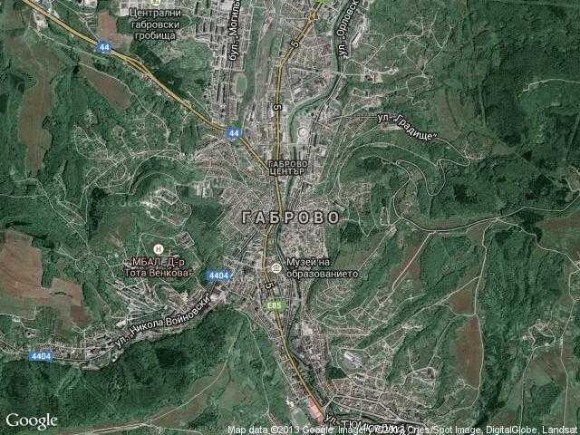 Сателитна карта на Габрово