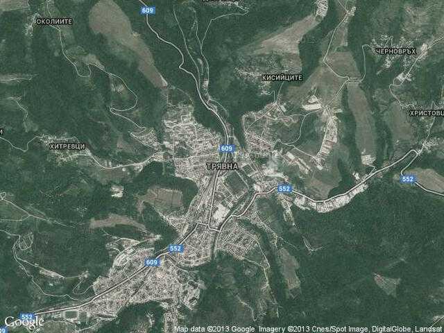 Сателитна карта на Трявна