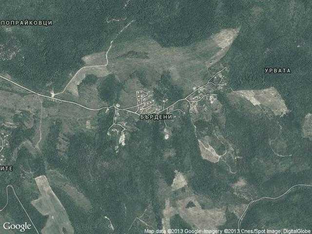 Сателитна карта на Бърдени