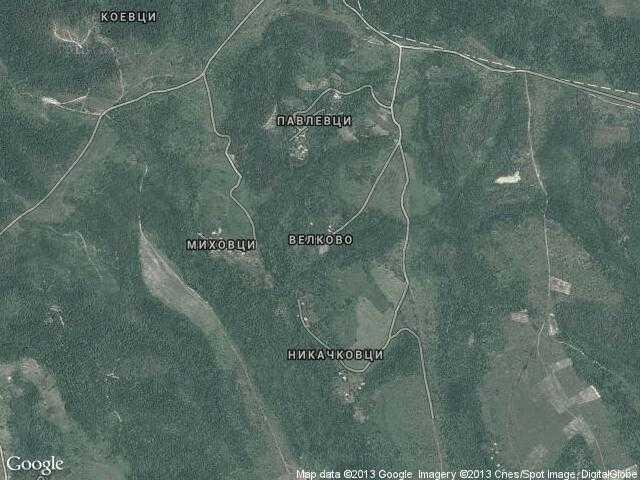Сателитна карта на Велково