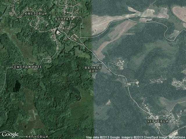 Сателитна карта на Вълков дол