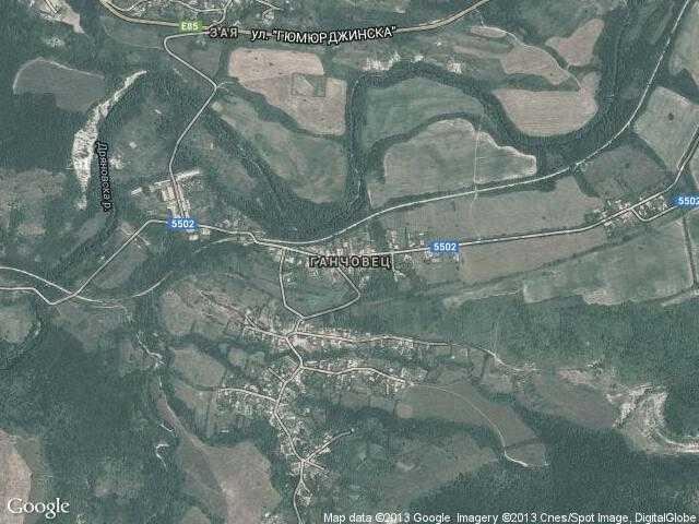 Сателитна карта на Ганчовец