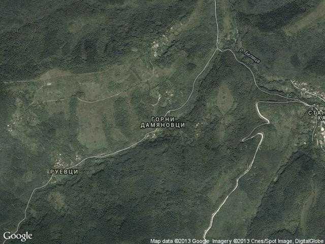 Сателитна карта на Горни Дамяновци