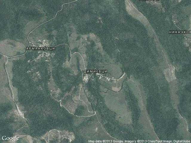 Сателитна карта на Димиевци