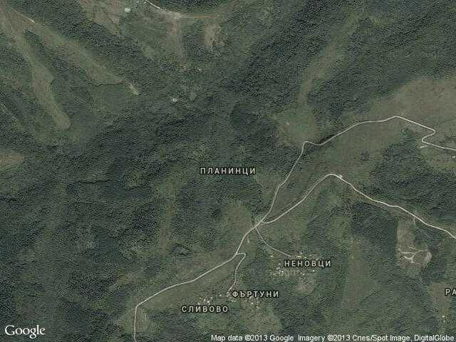 Сателитна карта на Планинци