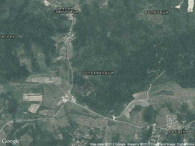Сателитна карта на Попрайковци