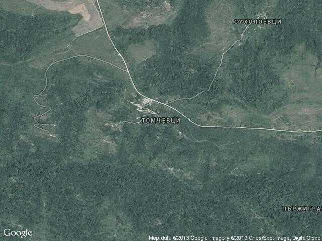 Сателитна карта на Томчевци