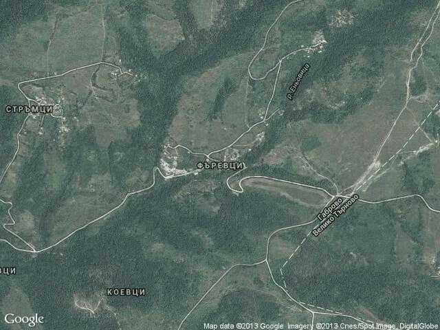 Сателитна карта на Фъревци