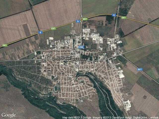 Сателитна карта на Каварна